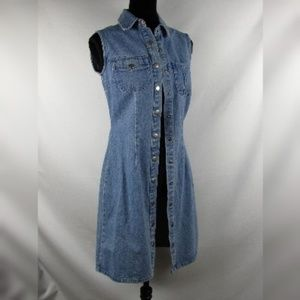 Newport News Jeanology Sz 4 Denim Long Vest Dress